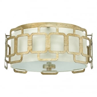 Sabina 3 Light Silver Leaf and Distressed Gold Flush Fitting