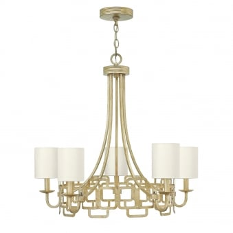 Sabina 5 Light Silver Leaf and Distressed Gold Chandelier Pendant