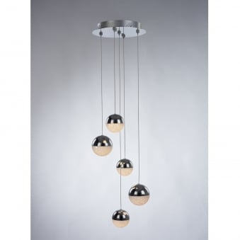 Eclipse 5 Light Crystalised and Chrome Sphere Dimmable Pendant
