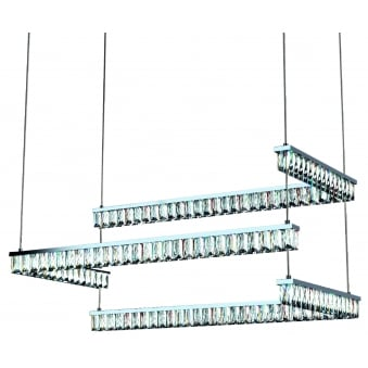 Edge Triple LED Pendant in Chrome and Clear Crystal