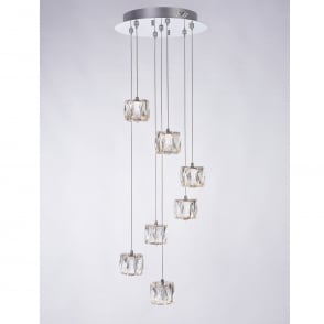 Glacier 7 Light Glass Spiral Pendant with Chrome Detailing