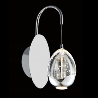 Illuminati Terrene Chrome Clear Bubbled Glass LED Wall Light