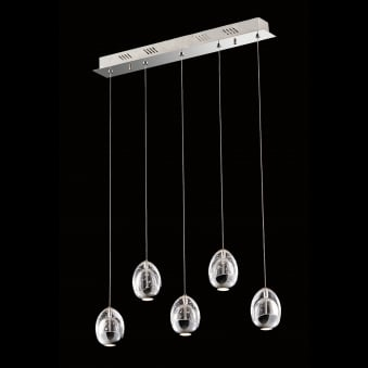 Illuminati Terrene Five Light Chrome Clear Bubbled Glass LED Pendant