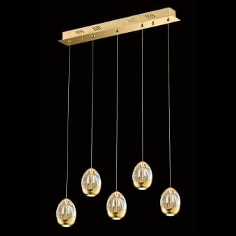 Illuminati Terrene Five Light Gold Clear Bubbled Glass LED Pendant