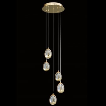 Illuminati Terrene Five Light Round Gold Clear Bubbled Glass LED