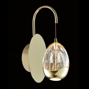 Illuminati Terrene Gold Clear Bubbled Glass LED Wall Light