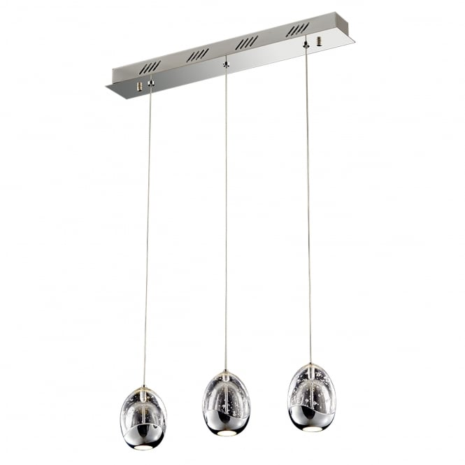 Illuminati Terrene Triple Bar Chrome Clear Bubbled Glass LED Pendant