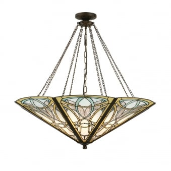 Dauphine Tiffany Glass Mega Panel Inverted Pendant Light