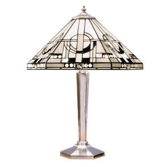 Metropolitan Aluminium Tiffany Glass Medium Table Lamp