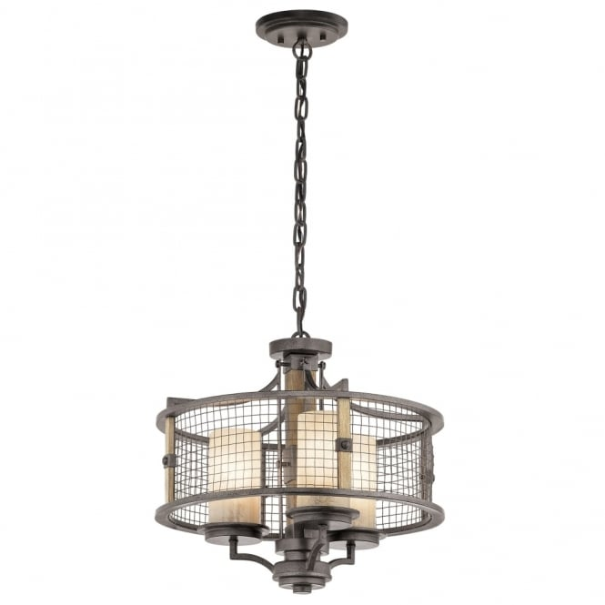 Kichler Ahrendale 3 Light Duo-Mount Chandelier in Anvil Iron