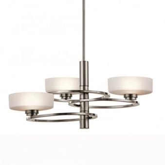 Aleeka Three Light Chandelier in Classic Pewter