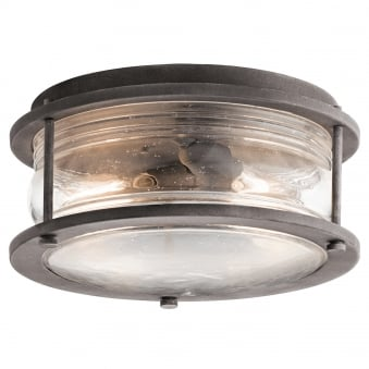 Ashland Bay 2 Light Outdoor Ceiling Flush in Weathered Zinc