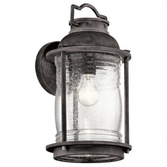 Ashland Bay Large Outdoor Wall Lantern in Weathered Zinc