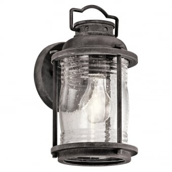 Ashland Bay Small Outdoor Wall Lantern in Weathered Zinc