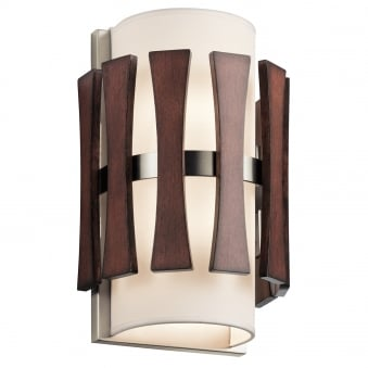Cirus 2 Light Wall Light with Auburn Stained Wood Panels