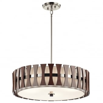 Cirus 4 Light Pendant or Semi Flush with Auburn Stained Wood Panels