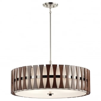 Cirus 5 Light Pendant or Semi Flush with Auburn Stained Wood Panels