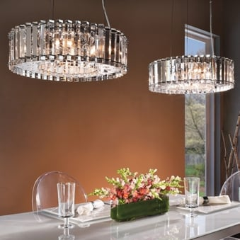 Crystal Skye IP44 LED 6 Light Chandelier Pendant in Chrome