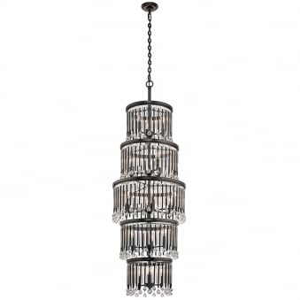 Piper 18 Light Chandelier Pendant with Espresso Rods and Clear Glass