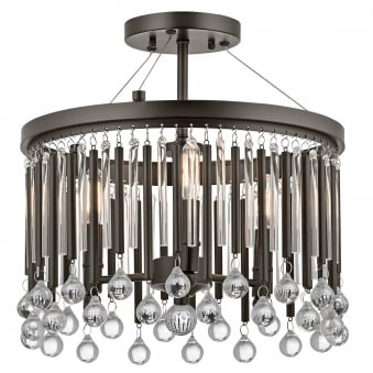 Piper 3 Light Semi Flush with Espresso Rods and Clear Glass