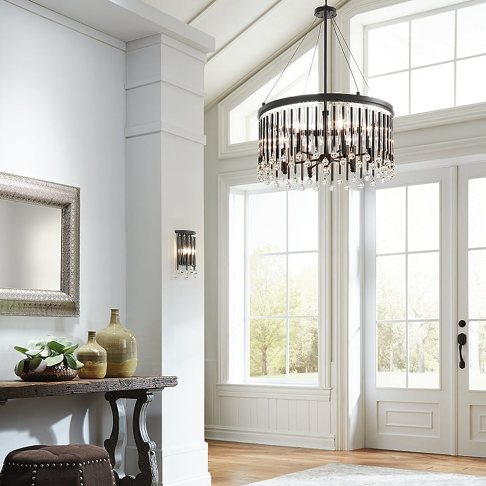 Piper 6 Light Chandelier Pendant With Espresso Rods And Clear Glass