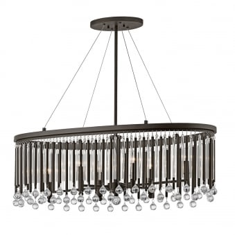 Piper Oval Chandelier Pendant with Espresso Rods and Clear Glass