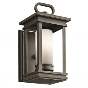South Hope Small Outdoor Wall Lantern in Rubbed Bronze