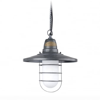 Cottage IP44 Pendant in Old Grey and Frosted Glass