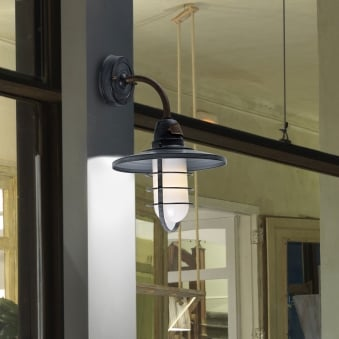 Cottage IP65 Wall Light in Old Grey and Frosted Glass