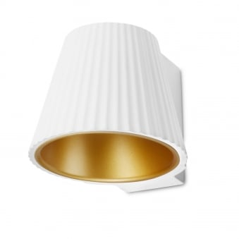 Cup LED Plaster Up or Down Wall Light in White and Gold