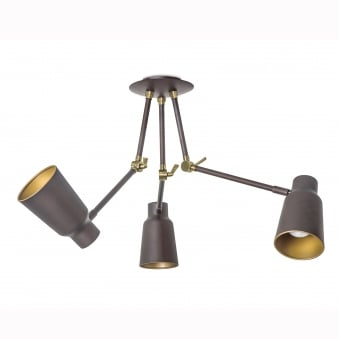 Funk 3 Arm Hinged Ceiling Spot Light