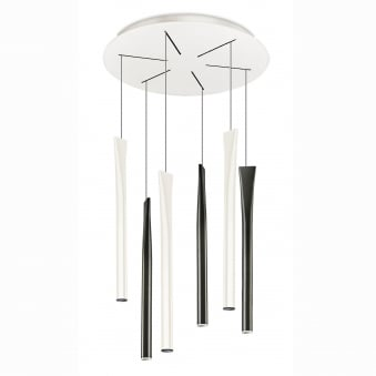 Rocket Six Drop LED Pendant in Black and White with Integrated LEDs