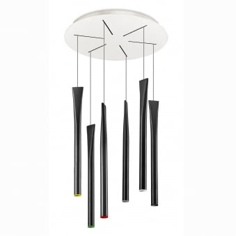 Rocket Six Drop LED Pendant in Black with Integrated LEDs