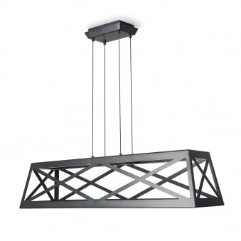 Train Rectangle Non Dimmable 37W LED Pendant in Black