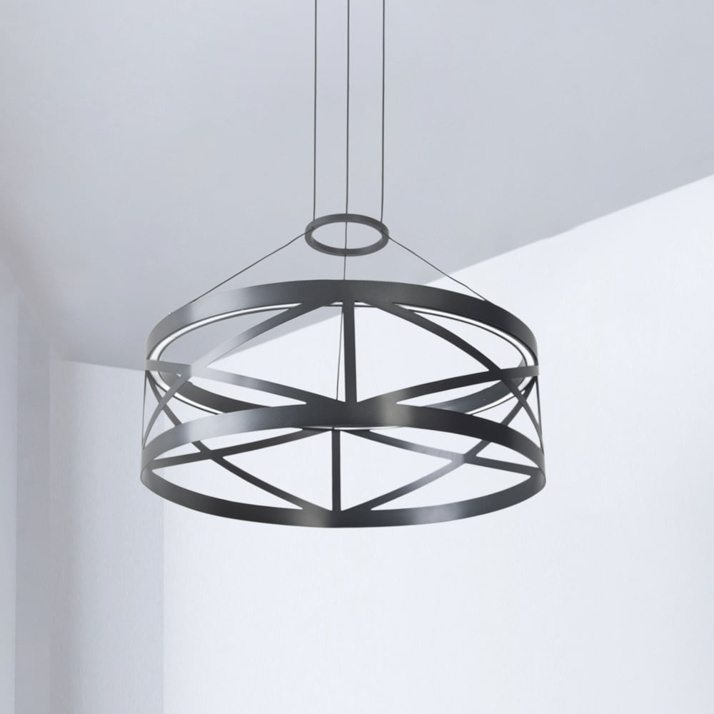 LEDS-C4 Train Round Non Dimmable 29.8W LED Pendant in Black ... for Train Ceiling Light  113cpg