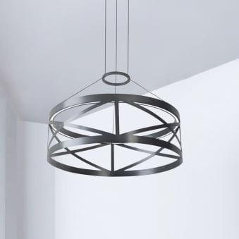 Train Round Non Dimmable 29.8W LED Pendant in Black