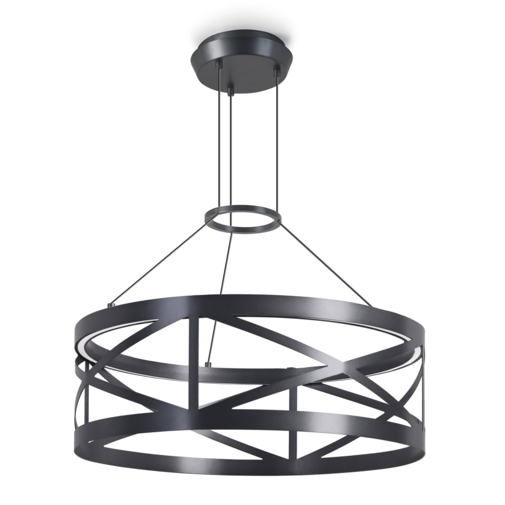 LEDS-C4 Train Round Non Dimmable 29.8W LED Pendant in Black ... for Train Ceiling Light  585ifm