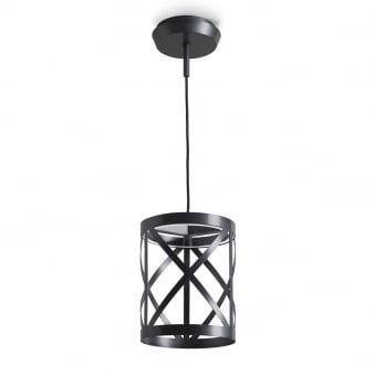 Train Small Round Non Dimmable 15.6W LED Pendant or Wall Light in Black