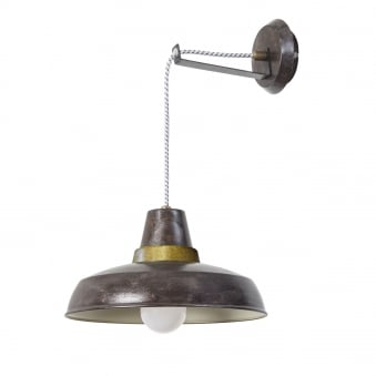 Vintage Wall or Pendant Light in Old Brown