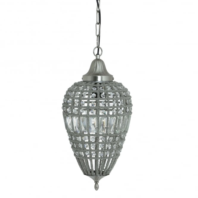 Light & Living Charlene Pendant in Nickel and Crystal