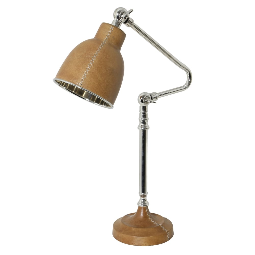 Light & Living Dex Nickel and Leather Desk Lamp - Fitting Type ...