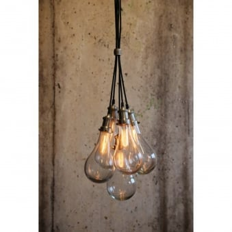FIDA Glass Hanging Lamp Finished in Nickel Satin
