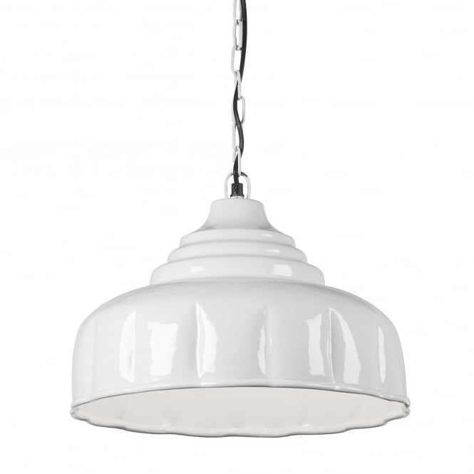 Light & Living Gloss Creme Metal Pendant with Crimped Finish