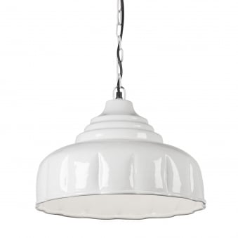 Gloss Creme Metal Pendant with Crimped Finish