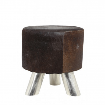 Hagan Cow Skin Foot Stool in Brown
