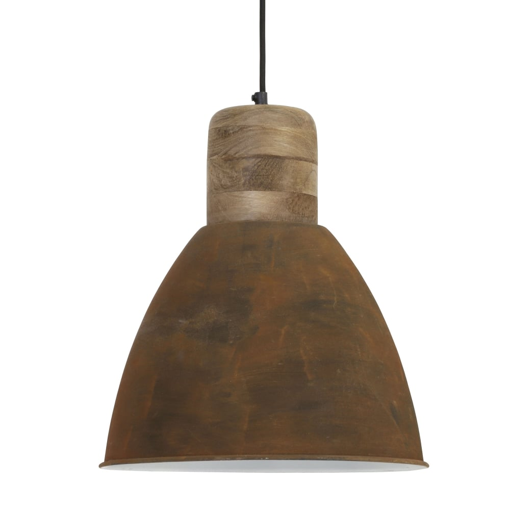 Light & Living Ismay Pendant With Wooden And Rust Finish
