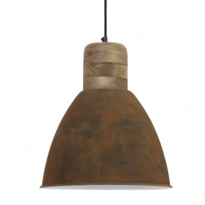 Ismay Pendant with Wooden and Rust Finish