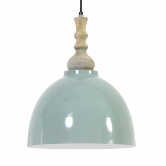 Marga Pendant in Natural Wood with Green Detailing