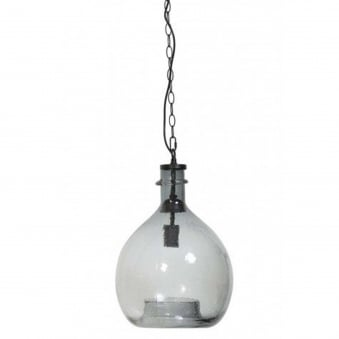 The Gabi Smoke Grey Glass Round Pendant Light