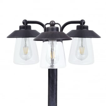 Cate Exterior Triple Head Tall Post with E27 Classic LED's Fitted